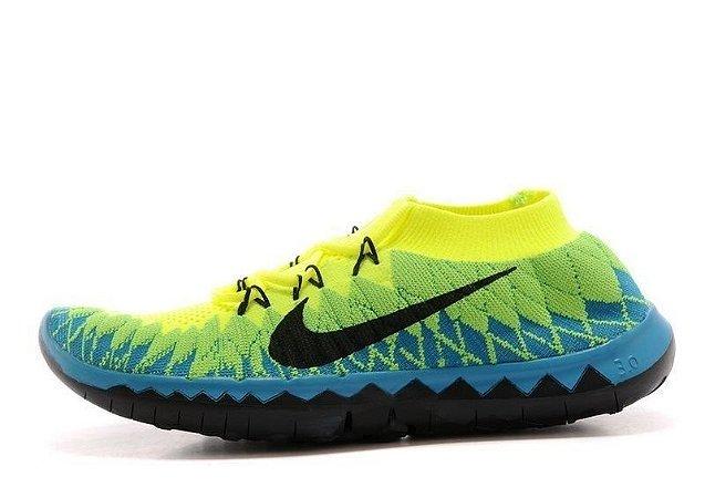 Tênis Nike FREE 3.0. Flyknit - Masculino - Verde/Azul