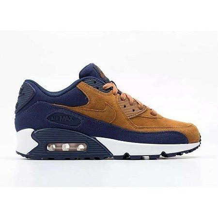 0ca7fde99b Tênis Nike Air Max 90 Marrom e Azul - Calçados50off® - Compre Seu ...