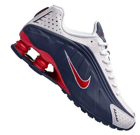 Tênis Nike Shox R4 - Azul/ Branco e Vermelho