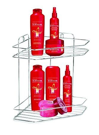 Porta shampoo Cantoneira Dupla para Banheiro Cromado