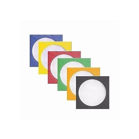Envelopes de papel para CD / DVD com visor transparente 100 Unidades - Várias Cores