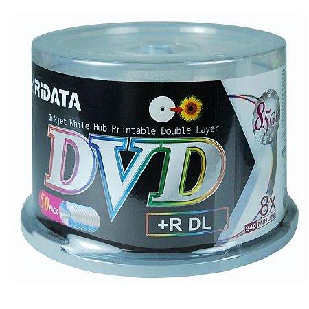 DVD+R Dual Layer 8.5GB/240min 8x - Ridata - Printable - 50 Unidades