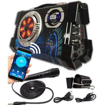 Caixa De Som Amplificada Com Bluetooth Usb Mp3 Sd Mic 6 Em 1