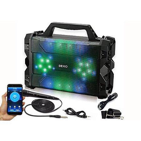 Caixa De Som Amplificada Led Bluetooth Mp3 Sd Usb Microfone - Deko SY-672