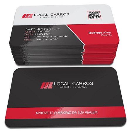 Cartões de Visita - Laminação Fosca e Verniz Local Frente e Verso - 4 Cantos Arredondados - 48x88mm - Couchê 300g