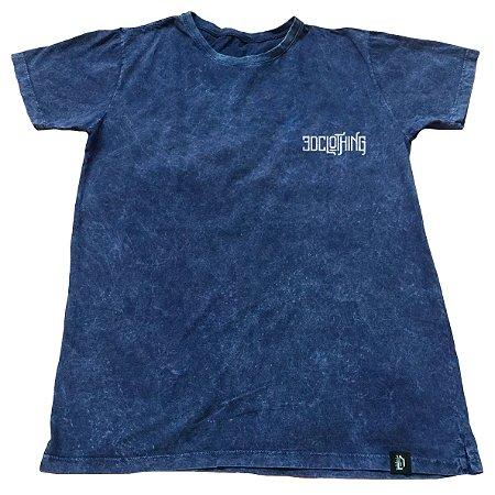 Camiseta Marmorizada 3D Clothing Azul Escuro