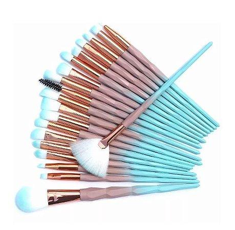 Kit 15 Pincéis Maquiagem Marrom com Azul Unicórnio Diamante