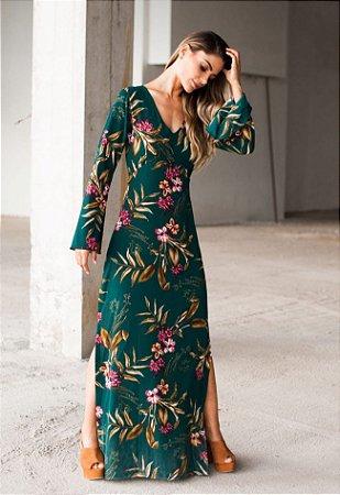 30edef92a0 Vestido longo estampado crepe verde - Bbrasilstilus    loja de ...