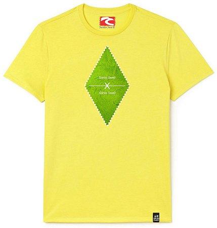 Camiseta Santo Swell Green Leafy Leaves Estampada Manga Curta Amarela