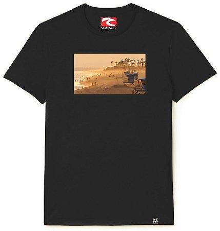 Camiseta Santo Swell Huntington Beach Califórnia Estampada Manga Curta 4 Cores