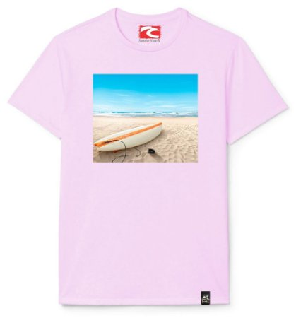 Camiseta Santo Swell Lonely Surfboard The Beach Estampada Manga Curta 4 Cores