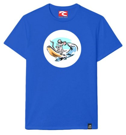 Camiseta Santo Swell Mouse Surfing Waves Algodão Manga Curta