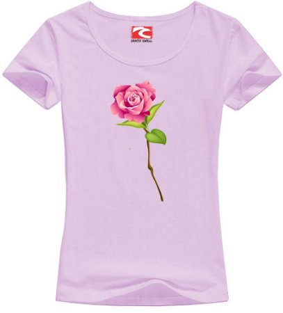 Camiseta Baby Look Santo Swell Pink Flower Love Manga Curta 4 Cores