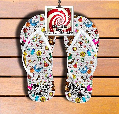 c3d3f5c09b Chinelo Tema Brinquedos! Sandália Personalizada Com Nome e Idade ...