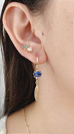 Argolinha Paradise Pedra Azul e Rosa Com pena