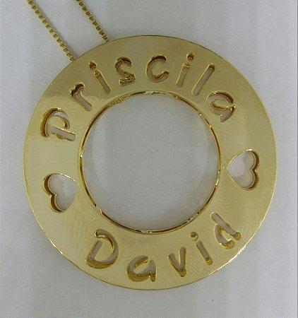 Mandala 3 cm - personalizada com nomes letras vazadas.