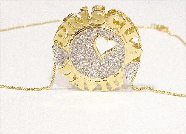 Mandala Dupla 3 cm - preenchida com zircônia e Coração.
