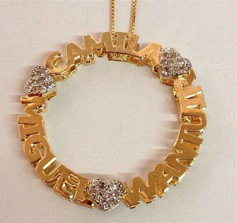 Mandala 3 cm - personalizada com Corações Cravejados em zircônia.
