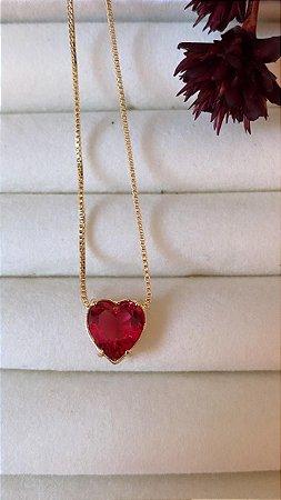 Colar Coração Com Pedra Rubi