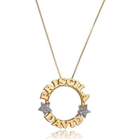 Mandala personalizada com estrelas com pedrinhas em zircônia.
