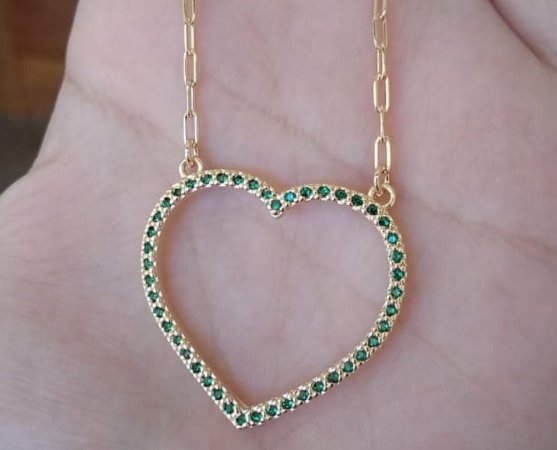Colar Coração Verde