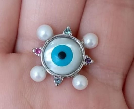 Colar Olho grego - ouro branco