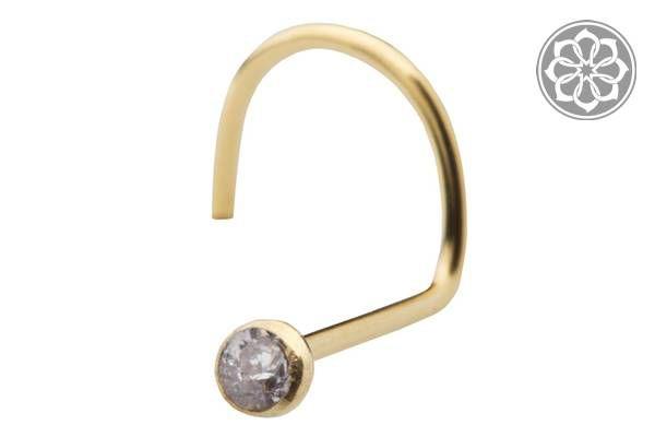 Piercing Nostril com Pedra - Folheado a Ouro