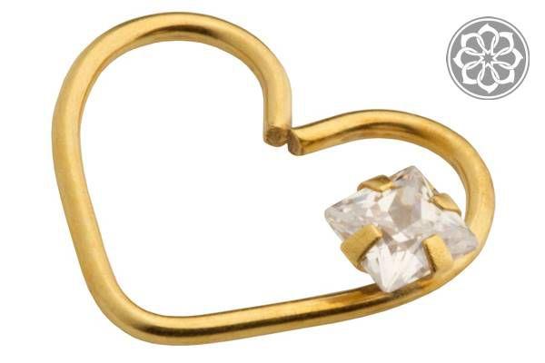 Piercing de Coração Folheado a Ouro com Pedra de Zircônia