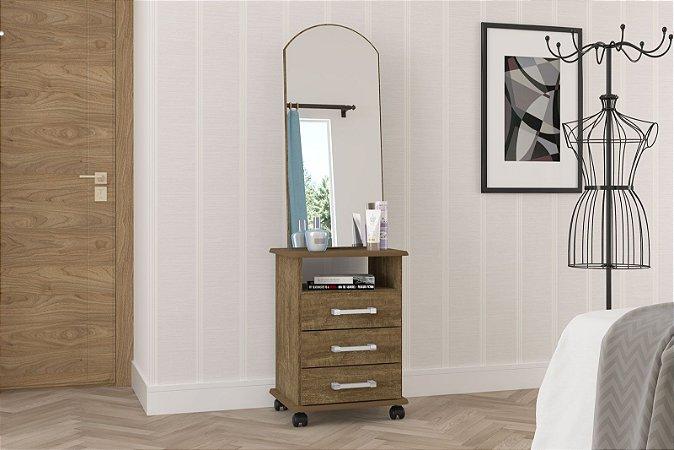Criado mudo para quarto Milão 3G com espelho imbuia Rv Móveis