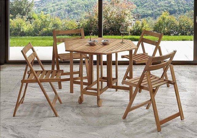 Mesa Dobrável E 4 Cadeiras Em Madeira