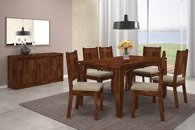 Mesa com 6 cadeiras Bella Malbec - DJ Móveis