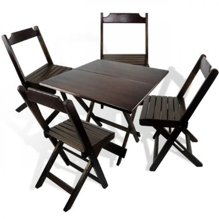 jogo de Mesa 70x70 e 4 cadeiras dobrável em madeira