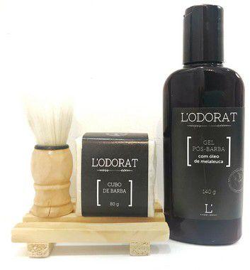 Kit para Presente - Barbear Completo - Cubo de Barba +Pincel + Saboneteira + Gel pós Barba