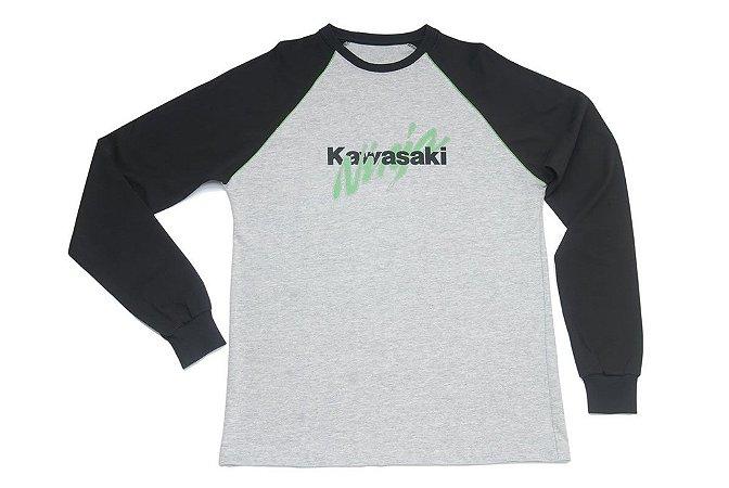 Camiseta Kawasaki Ninja Cinza Manga Longa