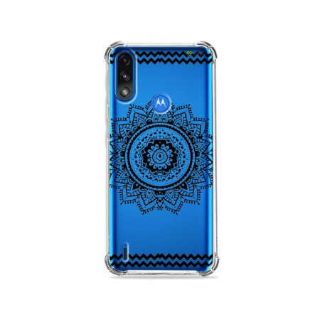 Capa (Transparente) para Moto E7 Power - Mandala Preta