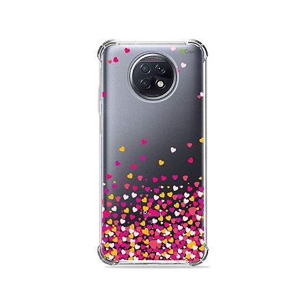 Capa (Transparente) para Xiaomi Redmi Note 9T - Corações Rosa
