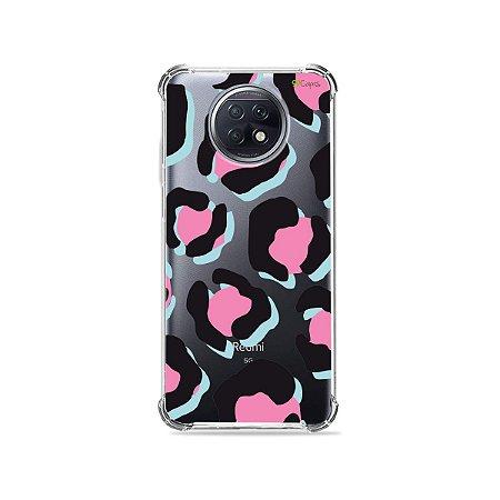 Capa (Transparente) para Xiaomi Redmi Note 9T - Animal Print Black & Pink