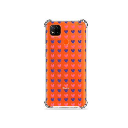 Capa (Transparente) para Redmi 9C - Corações Roxo e Rosa