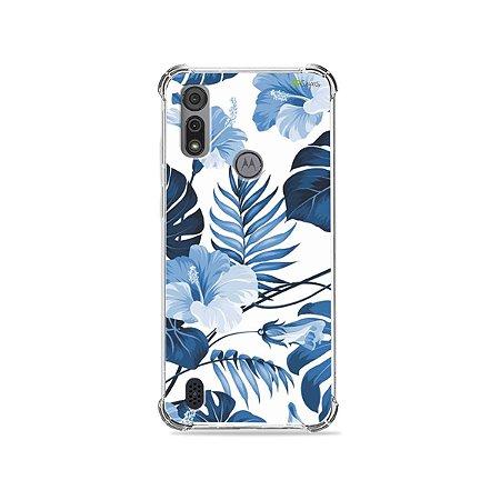 Capa para Moto E6I - Flowers in Blue