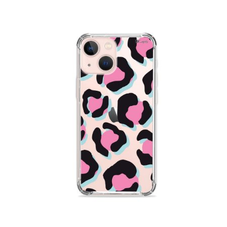 Capa para iPhone 13 -Animal Print Black & Pink