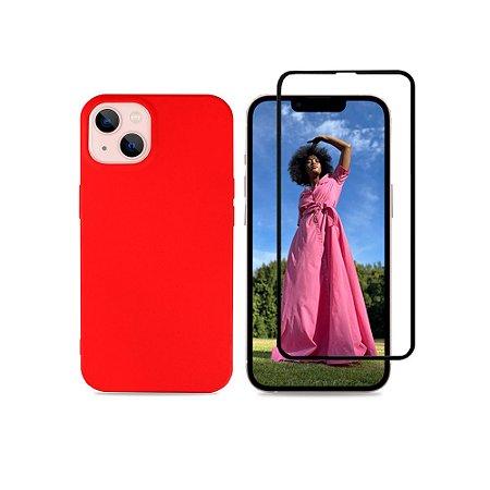 Kit Silicone Case Vermelha + Película 3D de Vidro para iPhone 13