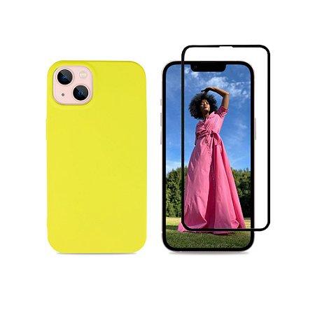 Kit Silicone Case Amarela + Película 3D de Vidro para iPhone 13