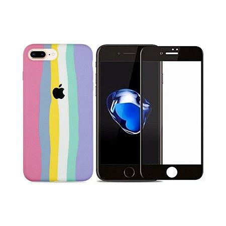 Kit Silicone Case Candy + Película 3D de Vidro para iPhone 7 Plus