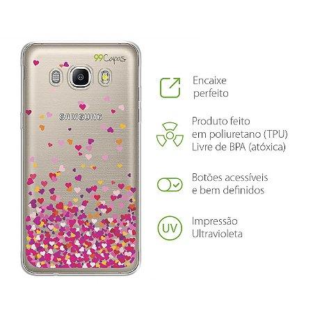 Capa para Samsung Galaxy  J5 Metal - Corações Rosa