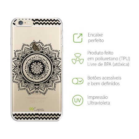 Capa para iPhone 6 Plus/6S Plus - Mandala Preta