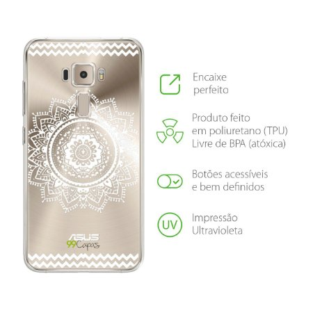 Capa Mandala Branca para Zenfone 3 - ZE520KL - 5,2 Polegadas