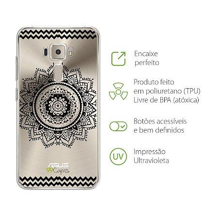 Capa Mandala Preta para Zenfone 3 - ZE552KL - 5,5 Polegadas