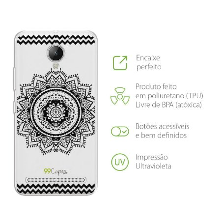 Capa Mandala Preta para Lenovo Vibe C2