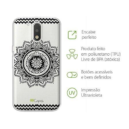 Capa Mandala Preta para Moto G4