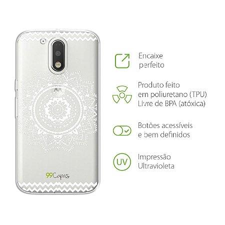 Capa para Moto G4 Plus - Mandala Branca